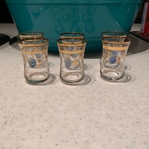 24 kt sherry gassed set of 6 gold